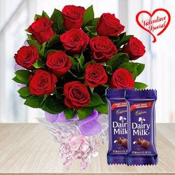 Lovely and Delightful Rose Assortment with Dairy Milk Chocolates to Cochin