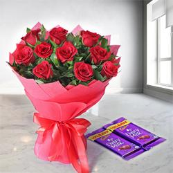 Lovely and Delightful Rose Assortment with Dairy Milk Chocolates to Surat