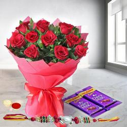 Lovely and Delightful Rose Assortment with Dairy Milk Chocolates with Rakhi and Roli Tilak Chawal to Aligarh