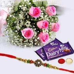 2 pcs Dairy Milk (13 gms each), 6 Pink Rose Bunch with Designer Rakhi to Amalampuram