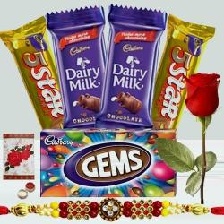 2 pcs Dairy Milk (13 gms each), 1 pc Gems, 2 pcs 5star, 1 Designer Rakhi with Single Red Rose to Amalampuram
