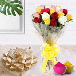 Glorious colorful 2 dozen Roses along with delectable Kaju Barfi delight to Ahmedabad