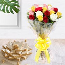 Glorious colorful 2 dozen Roses along with delectable Kaju Barfi delight to Amravati