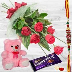 Red Rose Bunch with Teddy and Chocolates to Barauipur