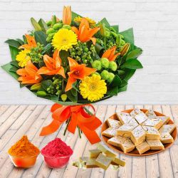 Pretty Seasonal Flower bouquet with yummy Kaju Barfi to Bhubaneswar