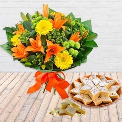 Pretty Seasonal Flower bouquet with yummy Kaju Barfi to Barauipur