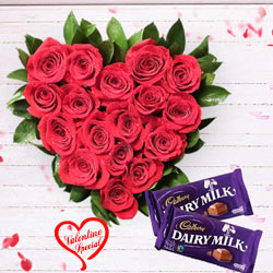 Red Roses in Heart Shape Arrangement with Cadbury Dairy Milk to Cochin