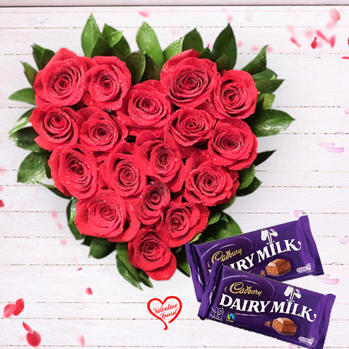 Red Roses in Heart Shape Arrangement with Cadbury ... to Faridabad