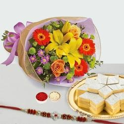Kaju Katli and Seasonal Flowers Bouquet with Free Rakhi to Alwar