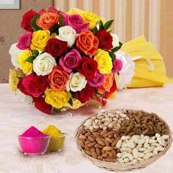 Fantabulous 24 bright Roses along with mouth watering Dry Fruits to Ahmedabad