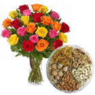 1 Kg. Assorted Dry Fruits with Bouquet of 24 Mixed Colour Roses to Bellary