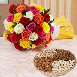 Fantabulous 24 bright Roses along with mouth watering Dry Fruits  to Calcutta