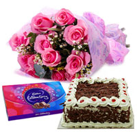 Hot Pink Rose Arrangement with Cadbury Celebration and Cake to Thane