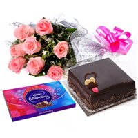 Sweet Romantic Pink Rose Bouquet, Cake and Cadbury Celebration to Bangalore