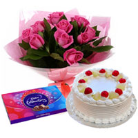 Simply Sensational Pink Rose Bouquet, Cadbury Celebration and Cake to Ankleshwar