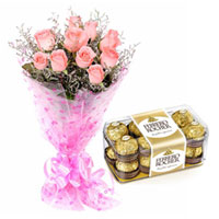 Mesmerizing Pink Roses and Tasty Ferrero Rocher Chocolates Combo to Barauipur