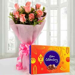 Tempting Cadbury Celebrations with Pink Rose Bouquet to Gwalior