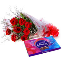 Delightful Combo of Red Rose Bouquet and Cadbury Celebration to Cuddapah