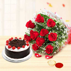 Superb Red Roses added with tempting Black Forest Cake with free Roli Tilak and Chawal to Aluva