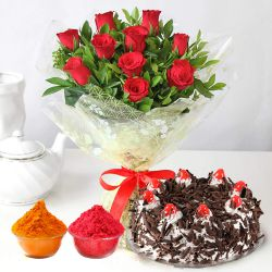 Superb Red Roses added with tempting Black Forest Cake to Baghalkot