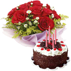 Red Roses Bunch with Black Forest Cake to Calicut