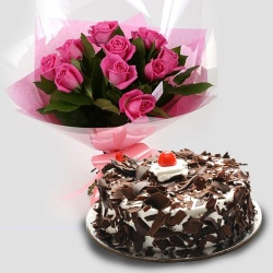 Charming 12 Pink Roses with 1/2 Kg Black Forest Cake to Chennai