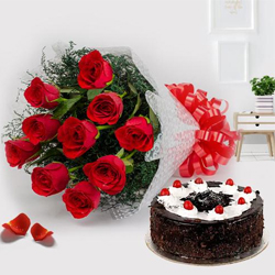 Exotic 12 Red Roses with 1/2 Kg Black Forest Cake to Akola