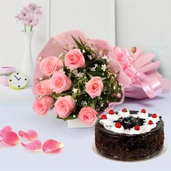 Delightful Combo of Pink Roses Bouquet and Bakery-Fresh Cake to Trichy