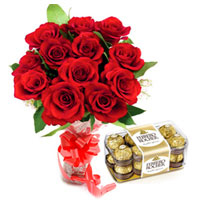 Radiant Combo of Ferrero Rocher and Red Roses Bouquet to Ramgarh