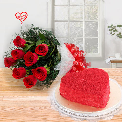 Heart Shape Red Velvet Cake with Fresh Red Roses B... to Bolpur
