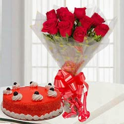 Exotic Red Roses Bouquet with Red Velvet Cake to Mohali
