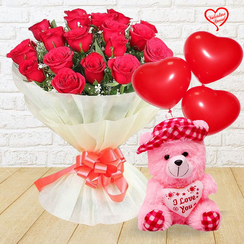 Gift Combo of Red Rose Bouquet with Teddy  N  Ball... to Aligarh