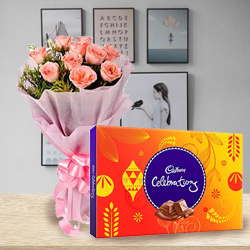 Blossoming Pink Rose with Yummy Cadbury Celebration Chocolates to Amlapuram