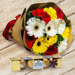 Inspiring Birth-Day Combo of Ferrero Rocher N Gerbera Bouquet to Bhavnagar