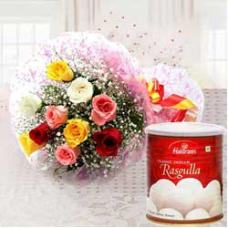 Admirable Birthday Combo of Mixed Flower with Haldiram Rasgulla to Baroda
