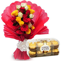 B Day Special Fresh Cut Mixed Roses with Ferrero Rocher Chocolate to Tirunelveli
