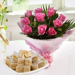 Birthday Special Kaju Kalti with Pink Roses to Jabalpur