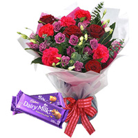 Remarkable Mixed Flowers Bouquet with Cadbury Chocolates to Aligarh