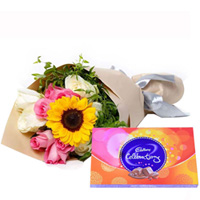 Remarkable Cadbury Celebration with Premium Bouquet of Mixed Flower for B Day to Ankleshwar