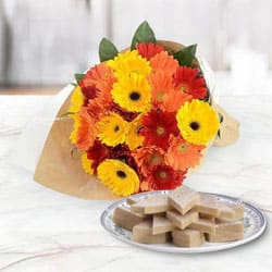Fresh Made Kaju Katli and Mixed Gerberas Arrangement for Birth-Day to Jabalpur