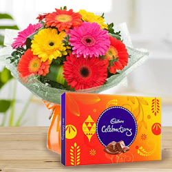 Birthday Enjoyable Cadbury Celebration with Clourful Mixed Gerbera Bouquet to Amlapuram