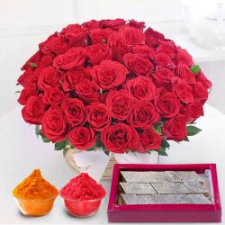Astonishing 50 Red Roses along with delicious Kaju Barfi to Adilabad
