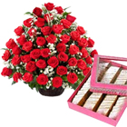 50 Red Roses with 500 gms Kaju Barfi to Calicut