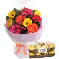 Birthday Creative Bouquet of Mixed Gerbera and Favorite Ferrero Rocher Chocolates to Amalampuram