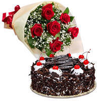 Precious Birthday Special Black Forest Cake and Bouquet of Red Rose to Kolar