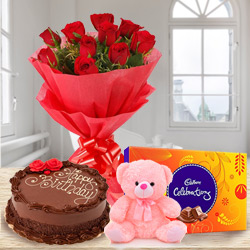 Birth-Day Treasure Combo of Cadbury Celebration with Teddy, Chocolate Cake and Bouquet of Red Rose to Mohali