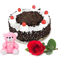 Extra Creamy Happy B Day Black Forest Cake with Teddy and Rose to Cuddapah