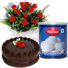 12 Red Roses and Rasgulla with Eggless Cake 1 Kg. to Ranchi