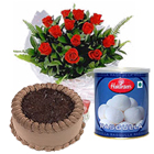 12 Red Roses and Rasgulla with Eggless Cake 