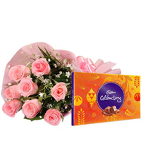Blossoming Pink Roses Bunch with Yummy Cadbury Celebration Chocolates to Kolar
